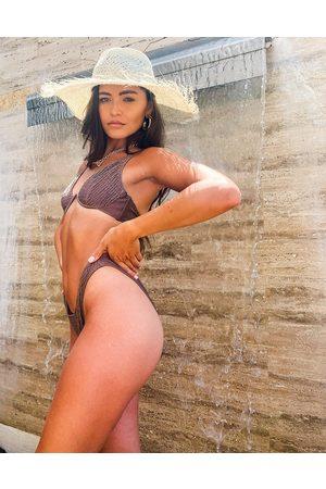 ASOS Women Bikinis - Shirred high leg hipster bikini bottom in mink