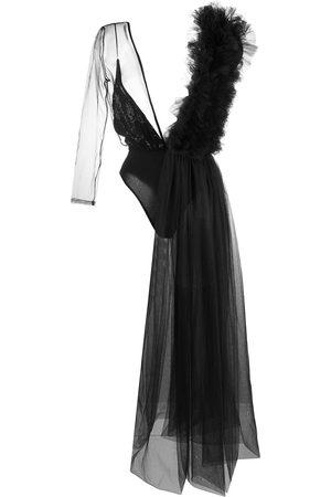 Alchemy Asymmetric ruffled drape bodysuit