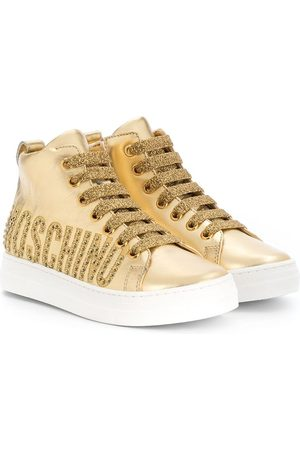 Moschino Studded logo high-top trainers