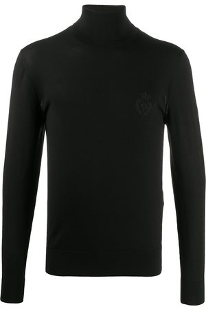 Dolce & Gabbana Embroidered crest knit turtleneck