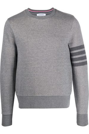 Thom Browne Men Sweatshirts - 4-Bar crew-neck loopback-cotton sweatshirt - Grey