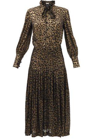 Saint Laurent Women Printed Dresses - Leopard-devoré Silk-blend Midi Dress - Womens