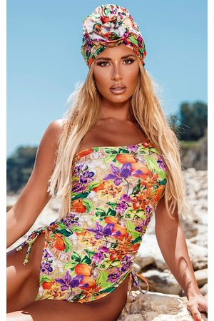 PRETTYLITTLETHING Floral Fruit Ruched Side One Shoulder Swimsuit