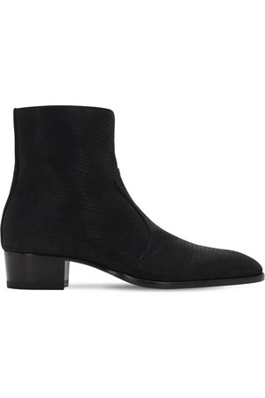 Saint Laurent 40mm Wyatt Lizard Embossed Suede Boots