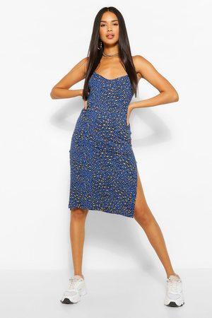Boohoo Womens Leopard Print Jersey Slip Midi Dress - - 2