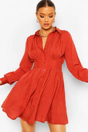Boohoo Womens Dobby Gathered Shoulder Shirt Dress - - 4