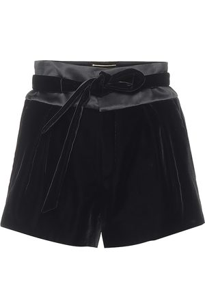 Saint Laurent High-rise velvet and satin shorts