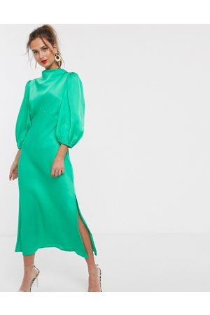 ASOS Cowl neck satin tea midi dress with puff sleeve in