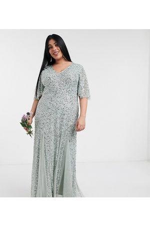 Maya Plunge front flutter sleeve delicate sequin maxi dress in sage