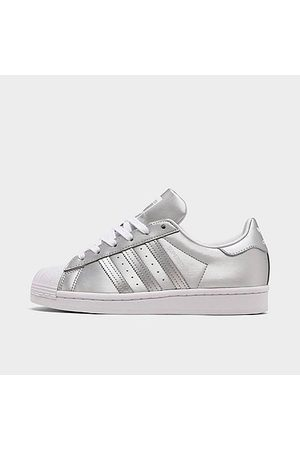 adidas Women's Originals Superstar Metallic Casual Shoes in Grey Size 6.0 Leather