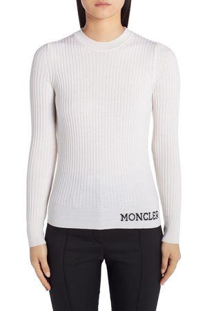 Moncler Women's Jacquard Logo Rib Wool Sweater