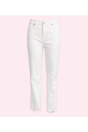 LOFT Women High Waisted - Petite Chewed Hem High Rise Slim Pocket Straight Crop Jeans in White
