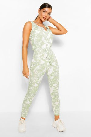 Boohoo Womens Tie Dye Ribbed Sleeveless Jumpsuit - - 4