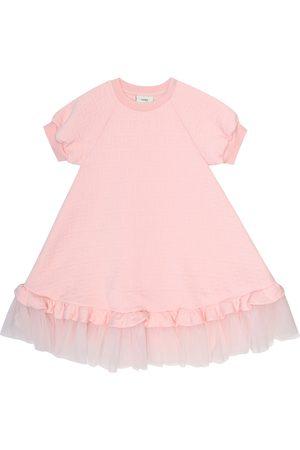 Fendi Tulle-trimmed cotton-blend dress