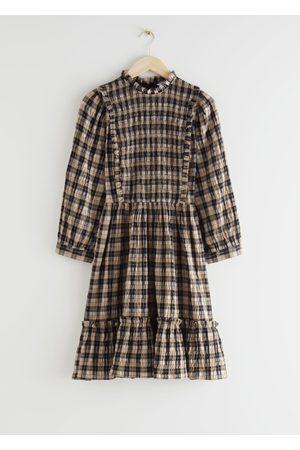 & OTHER STORIES Smocked Puff Sleeve Ruffle Mini Dress