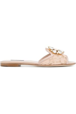 Dolce & Gabbana Bianca embellished lace slides - Neutrals