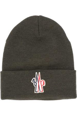 Moncler Men Beanies - Logo patch virgin wool beanie
