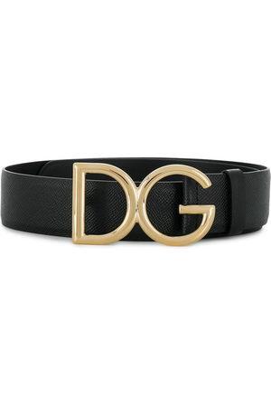 Dolce & Gabbana DG logo pebbled leather belt