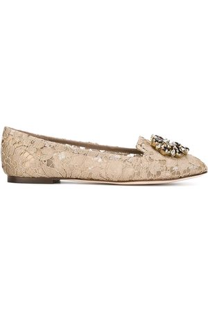 Dolce & Gabbana Women Ballerinas - Vally Taormina lace ballerina shoes - Neutrals