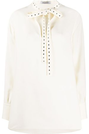 VALENTINO Embellished bow blouse - Neutrals