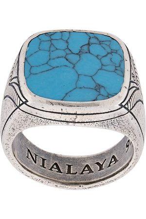 Nialaya Jewelry Men Rings - Engraved onyx ring