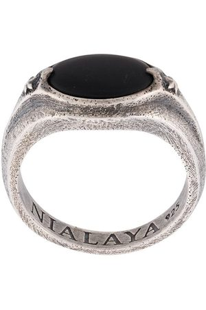 Nialaya Jewelry Men Rings - Engraved stone ring