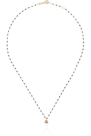 GIGI CLOZEAU 18kt Heart charm beaded necklace - R20 ROSE