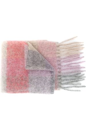 Acne Studios Scarves - Multi-check fringed scarf - Neutrals
