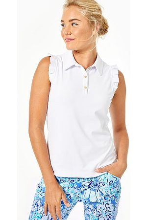 Lilly Pulitzer UPF 50+ Luxletic Frida Sleeveless Ruffle Polo Top