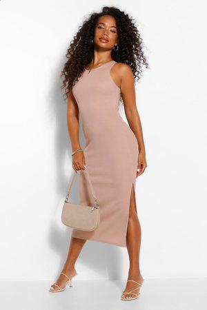 Boohoo Womens Petite High Neck Split Detail Rib Midi Dress - - 4