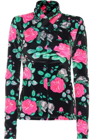 RICHARD QUINN Floral velvet high-neck top