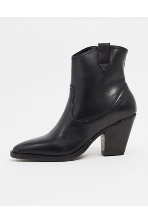AllSaints Rolene leather heeled western boots in