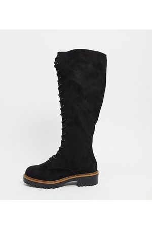 ASOS Women Thigh High Boots - Wide Fit Courtney chunky lace up knee high boots
