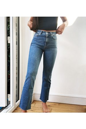 ASOS ASOS DESIGN Tall high rise stretch 'effortless' crop kick flare jeans in midwash