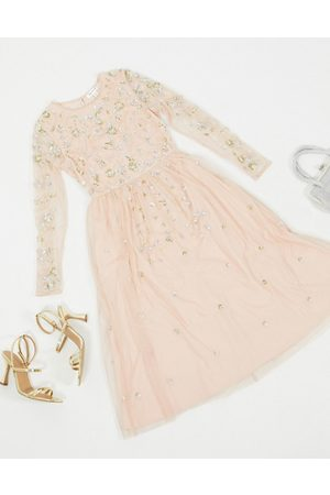 Frock and Frill Frock & Frill embellished long sleeve midi dress in blush