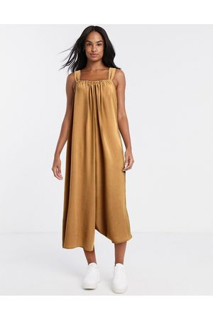 ASOS Cami smock jumpsuit with tie back detail in camel