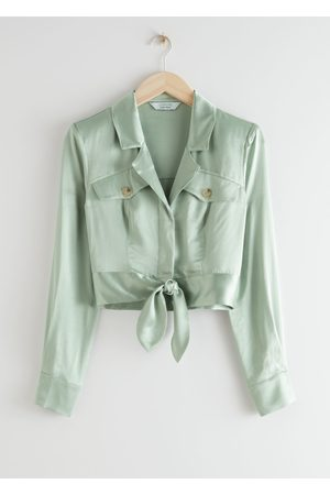 & OTHER STORIES Shiny Structured Self-Tie Blouse