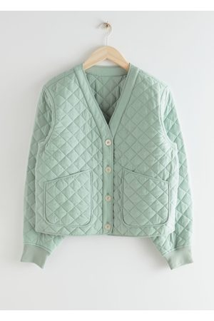 & OTHER STORIES Boxy Quilted Jacket - Turquoise