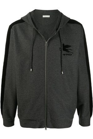 Etro Men Hoodies - Pegaso patch cotton hoodie - Grey