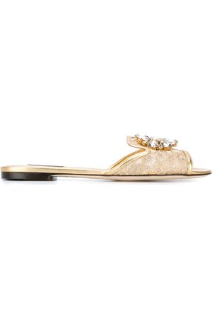 Dolce & Gabbana Bianca crystal-embellished lace sandals - Metallic