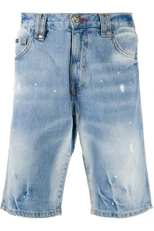 Philipp Plein Men Bermudas - Stonewashed bermuda shorts