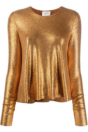 FORTE FORTE Long-sleeved metallic sheen top