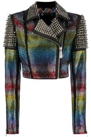 Philipp Plein Women Leather Jackets - Rainbow-studded biker jacker