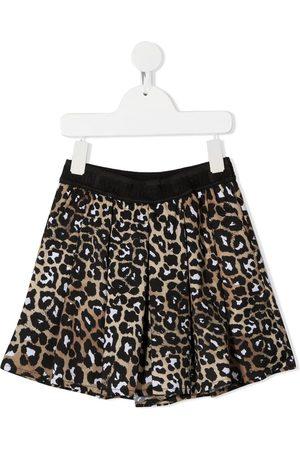 MSGM Kids Girls Shorts - Leopard-print pleated shorts