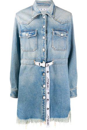 OFF-WHITE Frayed Industrial belted denim dress