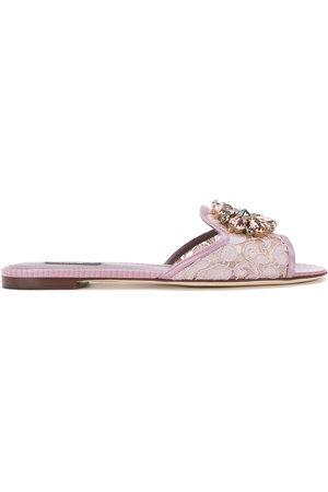 Dolce & Gabbana Women Sandals - Bianca crystal-embellished lace sandals