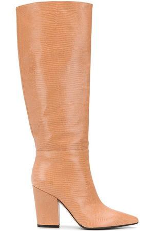 Sergio Rossi Lizard-effect block heel boots - Neutrals