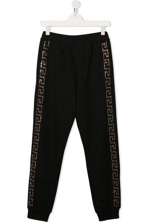 VERSACE Girls Sweatpants - Rhinestone side logo track pants