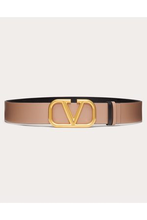 VALENTINO GARAVANI Reversible Vlogo Signature Belt In Glossy Calfskin 40mm Women Calfskin 100% 65