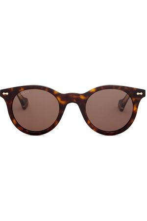 Gucci Engraved-frame Round Acetate Sunglasses - Mens